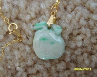 Jade Pendant, Chinese Jade, Jade Necklace, Plum Pendant, Asian Jewelry, Jade Jewelry, Estate Jewelry