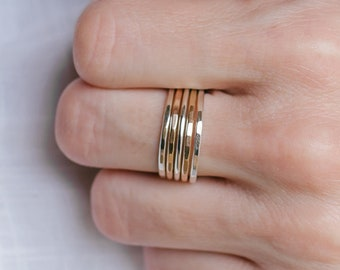 Gold and Silver Ring Set - Mixed Metal Rings - Stacking Ring Set - Silver Stacking Rings - Stackable Gold Rings - Gold Fill - Thin Stacking