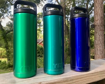 Yeti Stainless Steel Bottles Powder Coated in Transparent Top Coats 18, 26, and 36 oz available