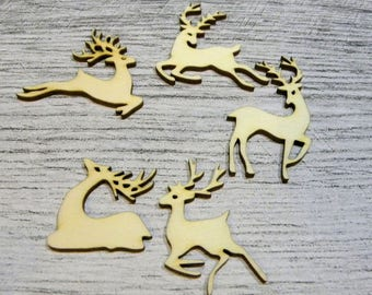 Set of deer 1034 a cut out of wood for your cards