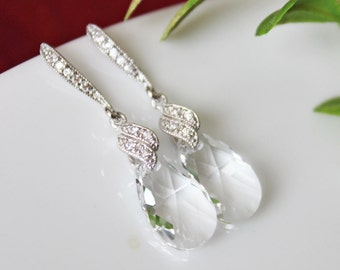 Crystal Teardrop Wedding Earrings, Bridal Earrings, Crystal Drop Bridesmaid Earrings, Rhinestone Earrings