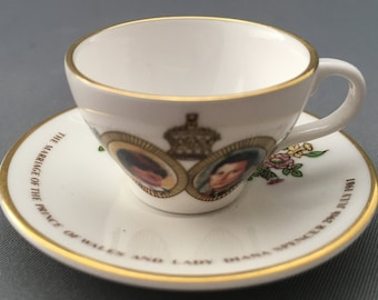 Caverswall Miniature Tea Cup and Saucer Marriage of Prince Charles and Lady Diana Spencer.