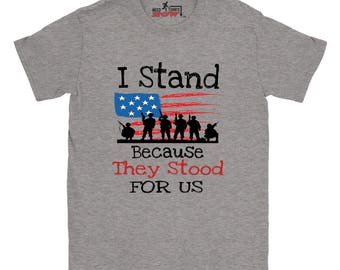 I Stand T-shirt Salute the Flag Military Veteran Army Navy Air Force Marine Coast Guard Shirt Republican USA