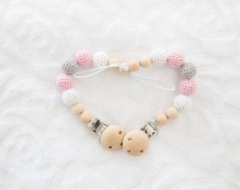 Baby Pink Crocheted Beads Pacifier Clip