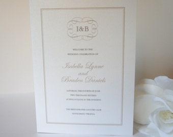 Wedding Programs, Elegant Wedding Program, Traditional Wedding Program, Monogram Wedding program - DEPOSIT