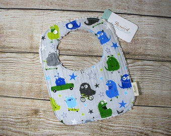 Gray Monsters Baby Bib, Baby Shower Gift Boy, Drool Bib
