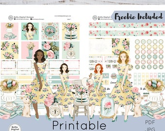 Mini HP Bella Rosa printable planner stickers.Mini Happy Planner weekly kit.Glam glitter planner flowers shabby rustic romantic girls spring