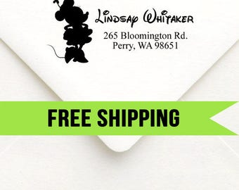 Custom Return Address Stamp-Self Inking-Personalized Stamp-Disney-Mickey and Minnie-Wedding-Minnie Mouse-Rubber Stamp-Self Ink