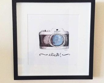 Wall hanging Camera Photographer gift Nikon Illustrations Posters and prints Wall decorations Camera art poster Camera prints Camera decor