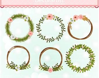 ON SALE Frame clip art, Floral wreath clip art, flowers frame clip art, Birthday Wreaths clip art, instant download