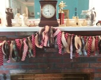Rustic Christmas Rag Garland/Bunting, christmas rag garland, fabric garland