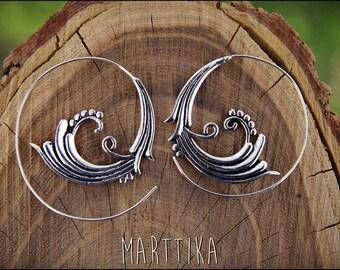 Spiral Hoop Earrings. Silver plated. Tribal Spiral Earrings. Spiral earrings Ethnic style. Tribal earrings. Boho Jewelry. Gypsy style