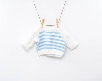 Pull en tricot bébé | Pull pour enfants | rayures bleues et blanches | top tricoté à la main | 18 mois