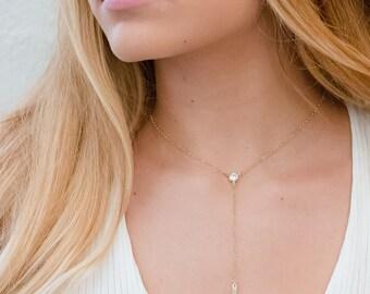 Gold CZ Choker,Bar Drop Necklace, CZ Y Necklace,Choker Necklace, Boho Necklace, Simple Bar Lariat necklace, Delicate gold Choker