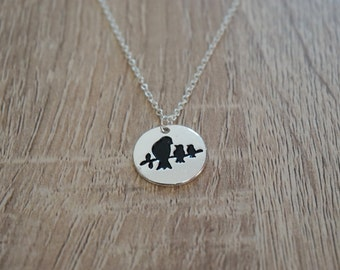 Mother bird necklace, birds, silver plated