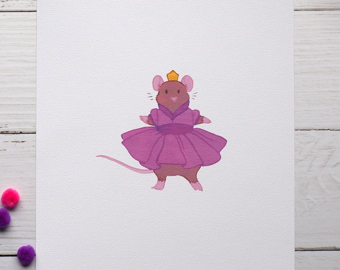 Twirling Mouse 8x10 Print [Pink]