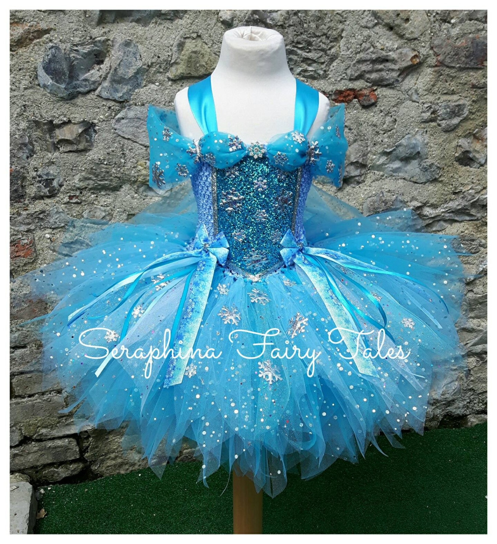 Blue Princess Snowflake Tutu Dress Lined Blue White &