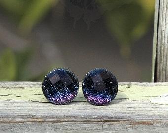 Glitter Stud Earrings, Black to Purple Ombre, Titanium Posts