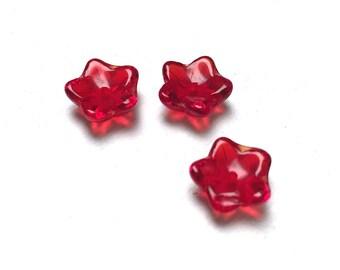 Czech Glass Cup Flower Beads. Ruby Red. Flower Drops. 8mm. Twenty-Four (24).