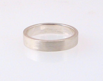 Simple Flat Band Sterling Silver Ring 4mm, size 3-15