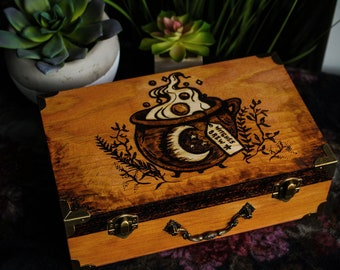 Witches Brew • Large woodburned & varnished treasure box