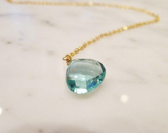 Blue Topaz Drop Pendant Necklace in Gold