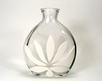 White Clay Lotus Glass Vase - Lotus  / Inspired Meditation, Zen, Papercut, Yoga, Home Decor, Bud Vase