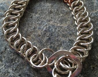 silver/copper chain bracelet