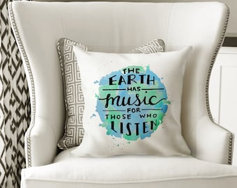 Decorative Pillows with Sayings Planet Earth Accent Pillows - Blue and Green Pillows Dorm Bedding Dorm PIllow - Music Quotes Nature Pillow