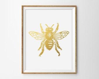 Faux Gold Foil Bee Art Print. Modern Home Decor. Office Art. Minimalist Art Print. Chic. Trendy. Insect Art.
