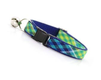 "Cat Collar - ""Oceanic"" - Green & Blue Madras Plaid - Breakaway Buckle or Non-Breakaway - Cat, Kitten + Small Dog Sizes"