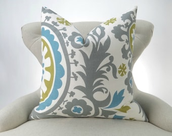 Suzani Pillow Cover - up to 28x28 - Gray Blue Green Citrine Summerland floral - decorative throw euro sham cushion bold modern contemporary