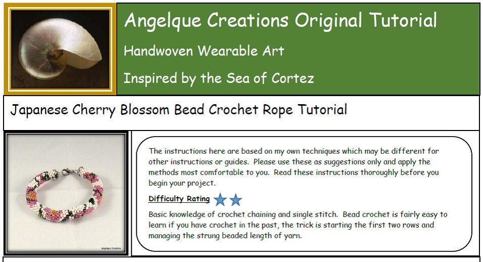 Japanese cherry blossom bead crochet bracelet rope pdf angelque this is a digital file dt1010fo