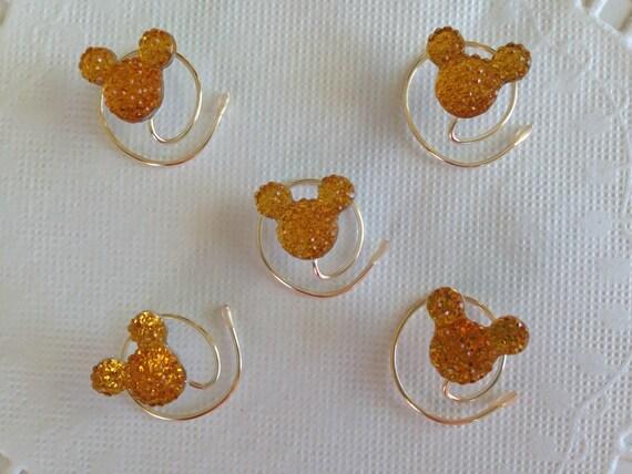 Mickey MOUSE EARS Hair Swirls-Disney Wedding-Golden Amber Acrylic