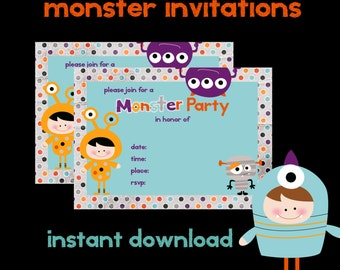Halloween Party, 5 x 7 Monster Party Printable Invitation, Halloween Party,  Custom Invitations