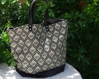 "Large tote bag ""Sausalito"" black jacquard"