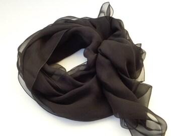 Black silk scarf, hand dyed silk scarf, women silk scarf, long silk scarf, chiffon silk scarf  fashion silk scarf