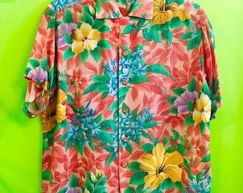 1950s silky cold Hawaiian shirt Pali M/L