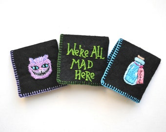 Set of 3 Alice in wonderland Hand embroidered Bookmarks