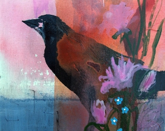 Hello Crow with pink and coral colors art reproduction on archival paper