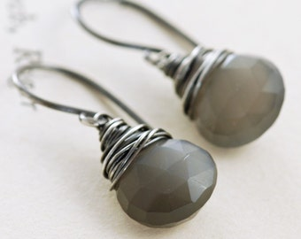Fog Gray Moonstone Earrings Sterling Silver, Gemstone Dangle Earrings