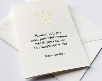 Letterpress Graduation Congratulations card - Change the World