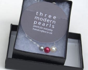 Grey Red White Pearl Necklace