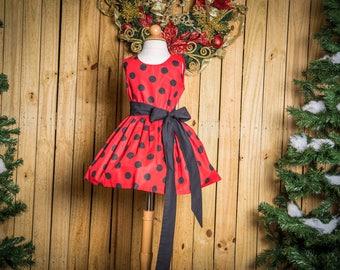 Ladybug Dress, Red / Black Dot Dress