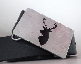 Deer buckle :. Aluminum - Fashion - Hunt - Hunting - Antlers - Accessory - Gift