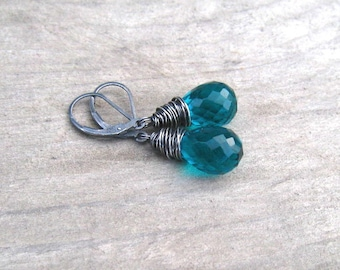Dark Teal Earrings,  Paraiba Quartz Dangle Earrings,  Tear Drop Briolette,  Sterling Silver , Teal Stone Paraiba Jewelry