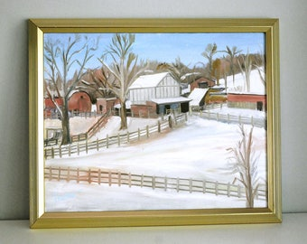 Original Oil Painting, Plein Air Painting, Barns in Snow, Missouri Countryside Fine Art, Farm House Decor, 16x20 Canvas, Framed Wall Hanging