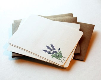 The Lavender Sprigs Notecard set in Cream, Lavender and Green - Set of 6 flat Notecards and Envelopes