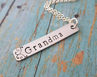 Grandmother's Necklace - Bar Necklace - Grandma Jewelry - Jewelry for Grandma - Gift for Grandma - Mother's Day - Nana Gift - Meemaw - Oma