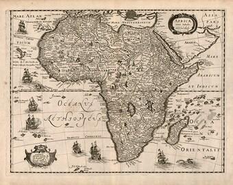 Map Of Africa 1640.  Chez Iean Boisseau.  Africae Nova Tabula;  Antique Reprint